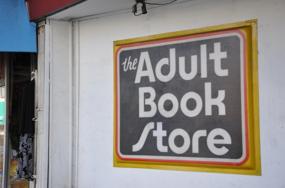 Adult bookstore sign.